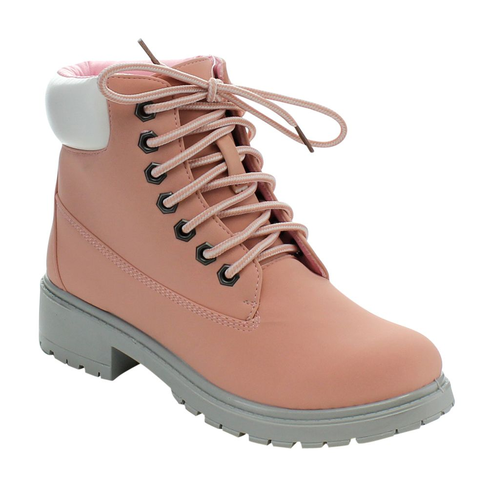 New Womens Lug Sole Lace Up Hiking Ankle Booties TREKKING-01
