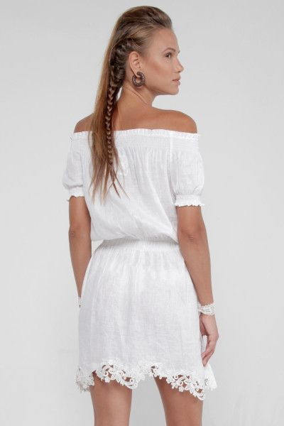 eb7e99343bea0 100% Linen Dress with Coconut Buttons and Moa Collar in White