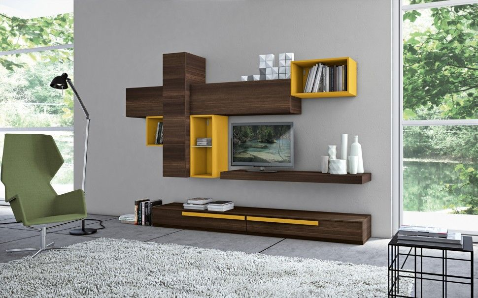 Furniture and Accessories. Dark Wood and Yellow Tone Wall ...