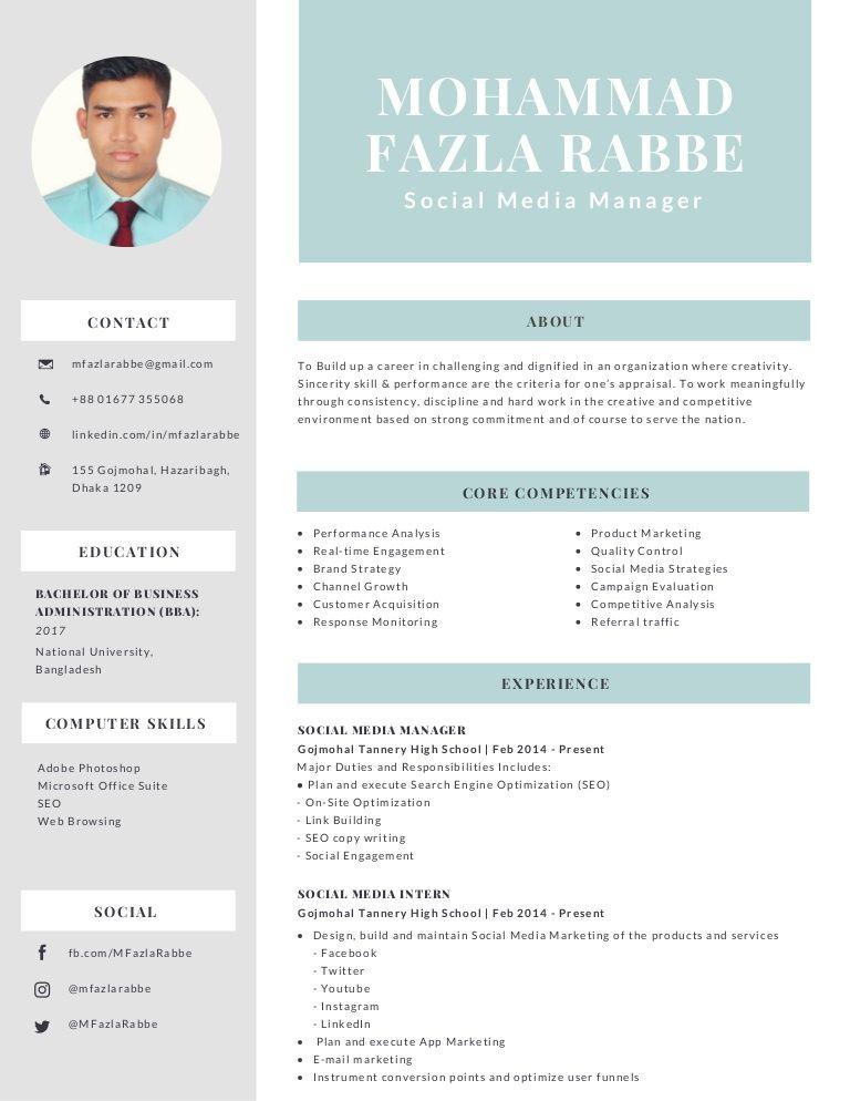 Mohammad Fazla Rabbe Social Media Manager Resume