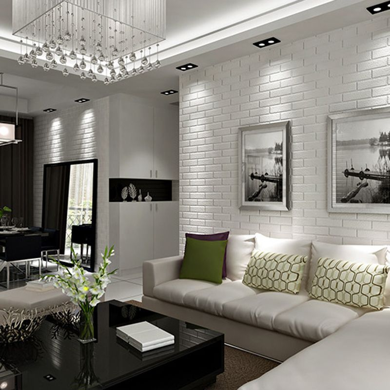 30 white brick wall living rooms that inspire your design for Grey brick wallpaper living room