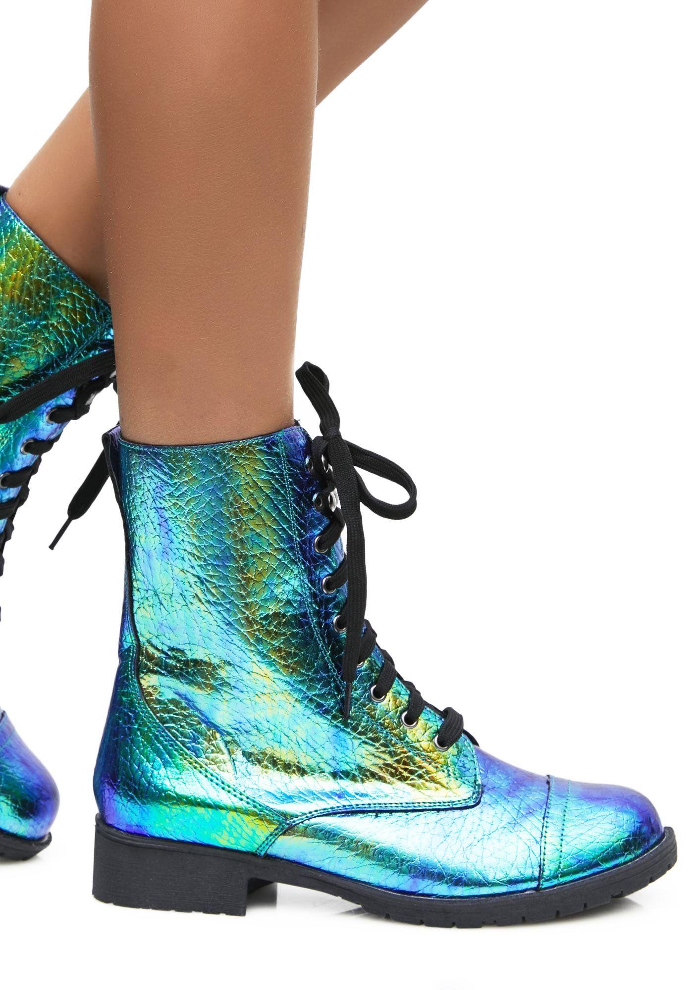 Mermaid Tears Combat Boots
