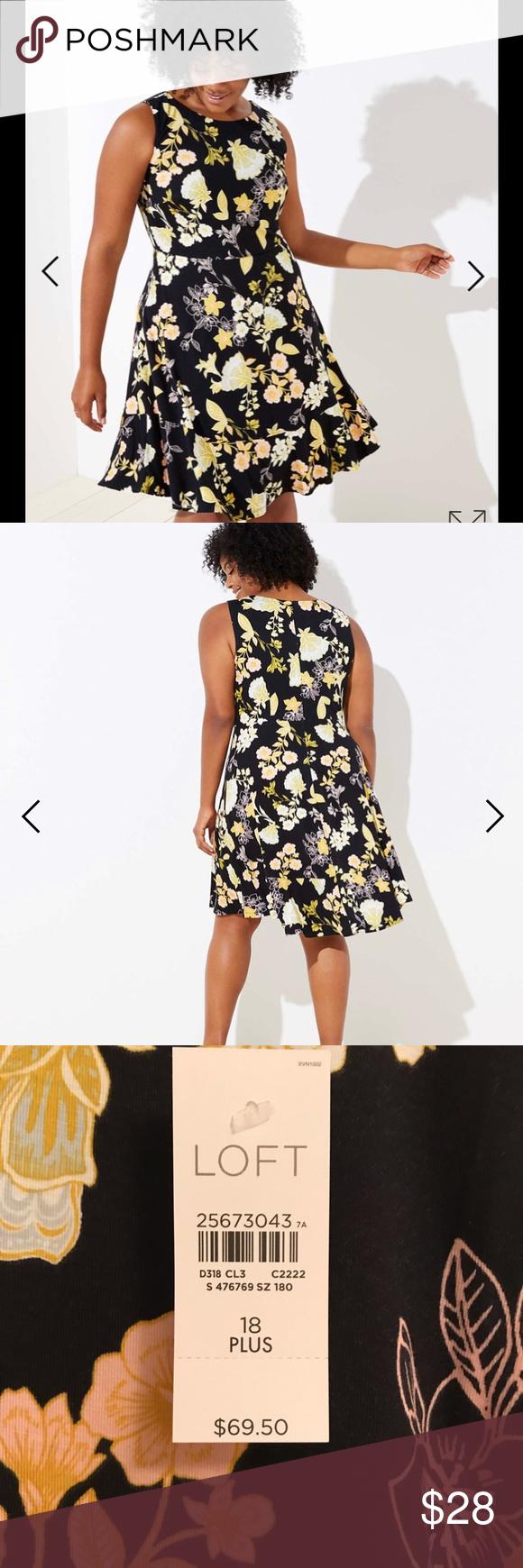 """8d842f43f NWT LOFT GOLDEN FLORAL FLARE DRESS Gorgeous dress 23"""" armpit to armpit 40""""  length"""