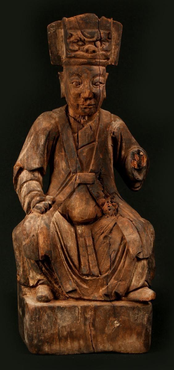 Statuette de religieux chinois statuette en bois sculpt figurant un religieux portant la coiffe - Portant vetement bois ancien ...