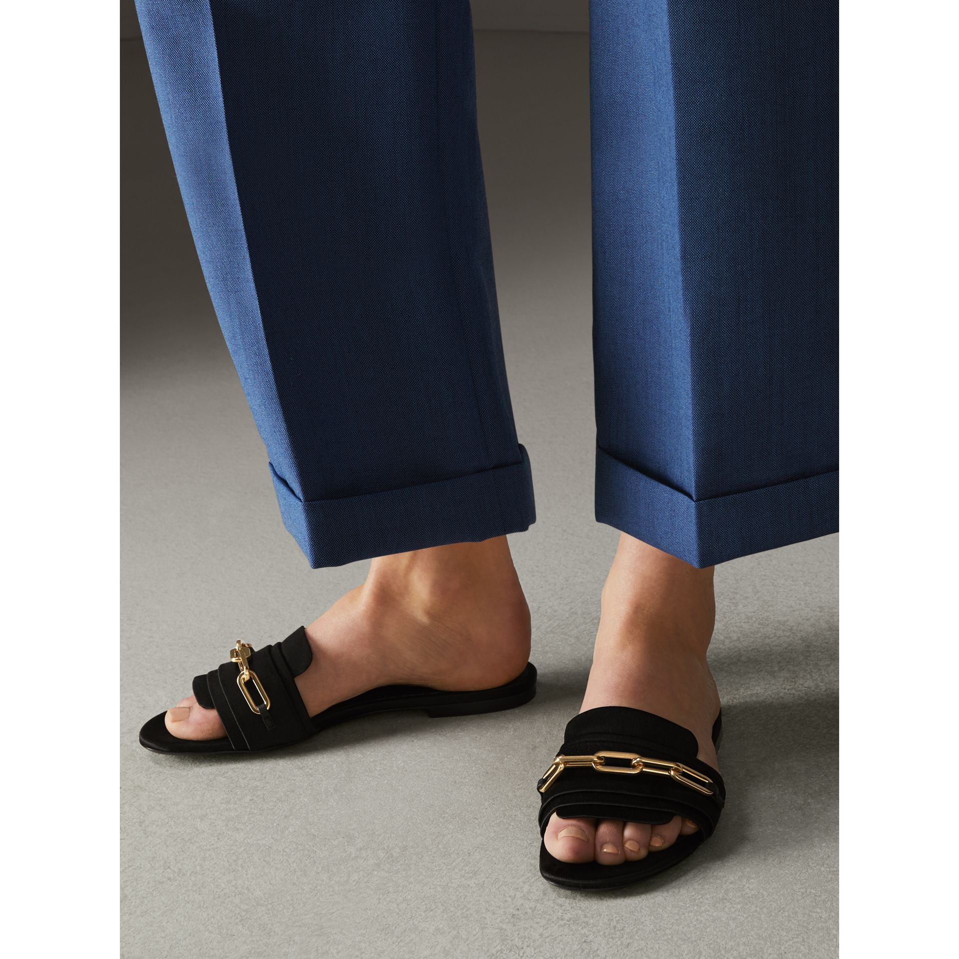 51666360d325 Link Detail Satin and Leather Slides in Black - Women