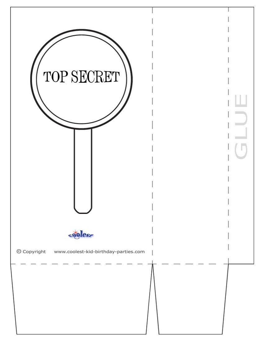 Free Scavenger Hunt Ideas and Printables - Large Printable Magnifying Glass Favorbag