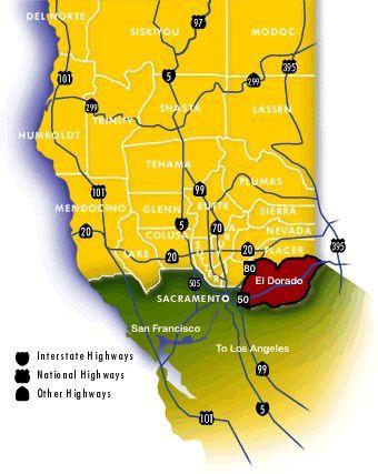 California map highlighting El Dorado County Road trip