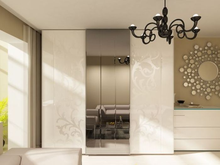 modernes Design Kleiderschrank Schiebetür mit Spiegelglas antiker - kronleuchter für badezimmer