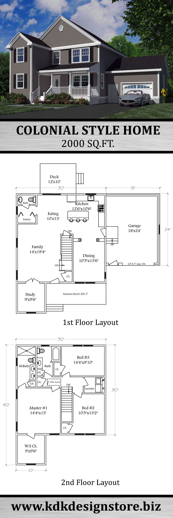 2000 Sq.Ft. Colonial Home | KDK Design, Inc. | Colonial ...