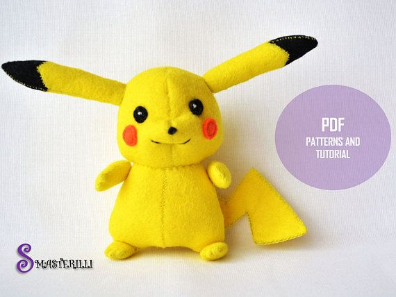 Pokemon Pikachu PDF Toy Sewing Patterns and Tutorial