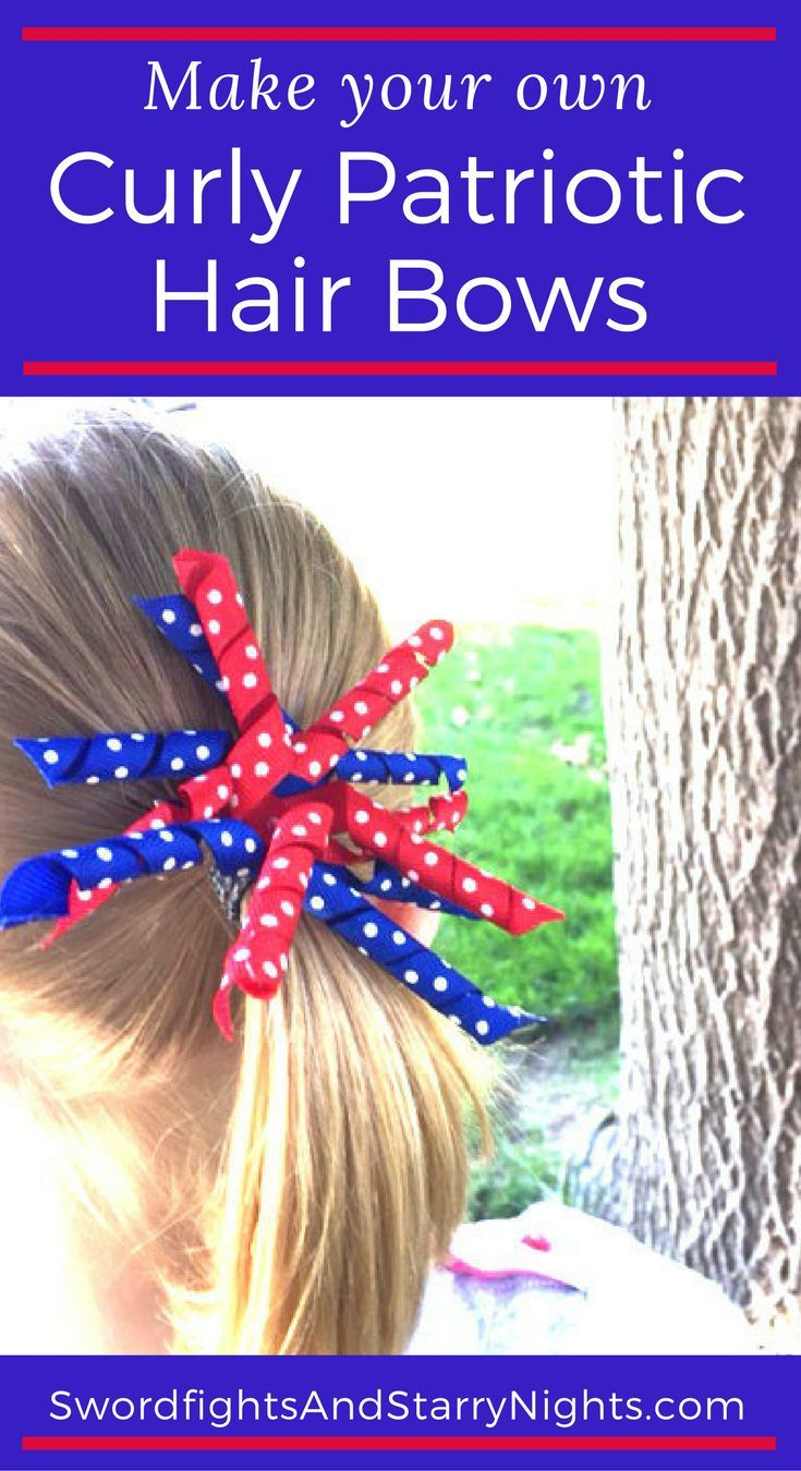 Curly Patriotic Hair Bows Easy to make and enjoy Red white