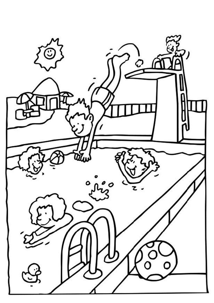 Summer pool coloring pages download and print for free Coloring - new little mermaid swimming coloring pages