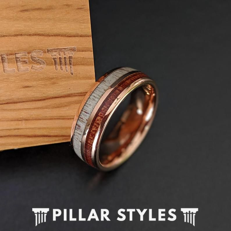 18k Rose Gold Wood Amp Deer Antler Ring Mens Wedding Band Tungsten Ring With Koa Wood Inlay Mens