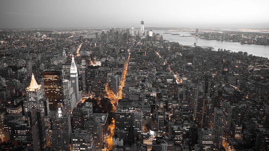 New York City By Night View Wallpaper City Skyline Wallpaper City View