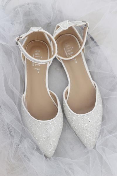 WHITE Rock Glitter Ankle Strap Flats #weddingshoes
