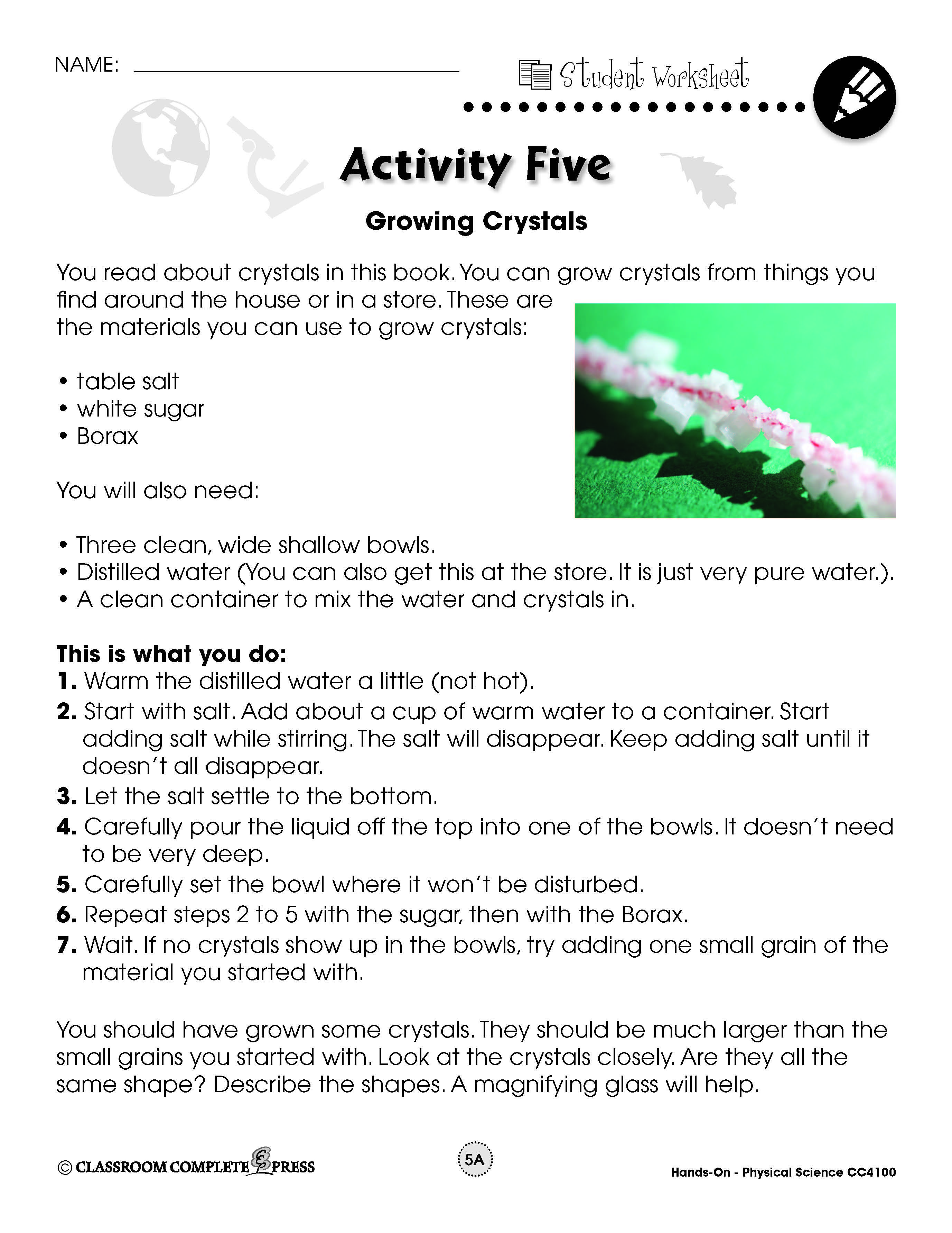 Sugar Crystals Science Experiment Worksheet   Printable Worksheets and  Activities for Teachers [ 3564 x 2754 Pixel ]