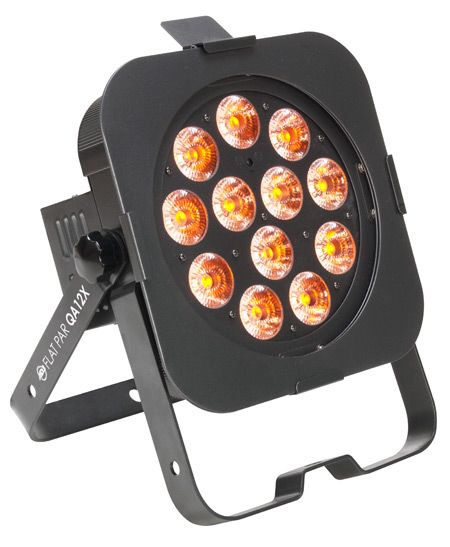 Adj Flat Par Qa12x Ultra Bright Slim Fixture With 12x 5 Watt Quad Leds 4 In 1 Rgba Red Green Blue Amber Flatparqa12x Gobo Bar Lighting Lounge Lighting