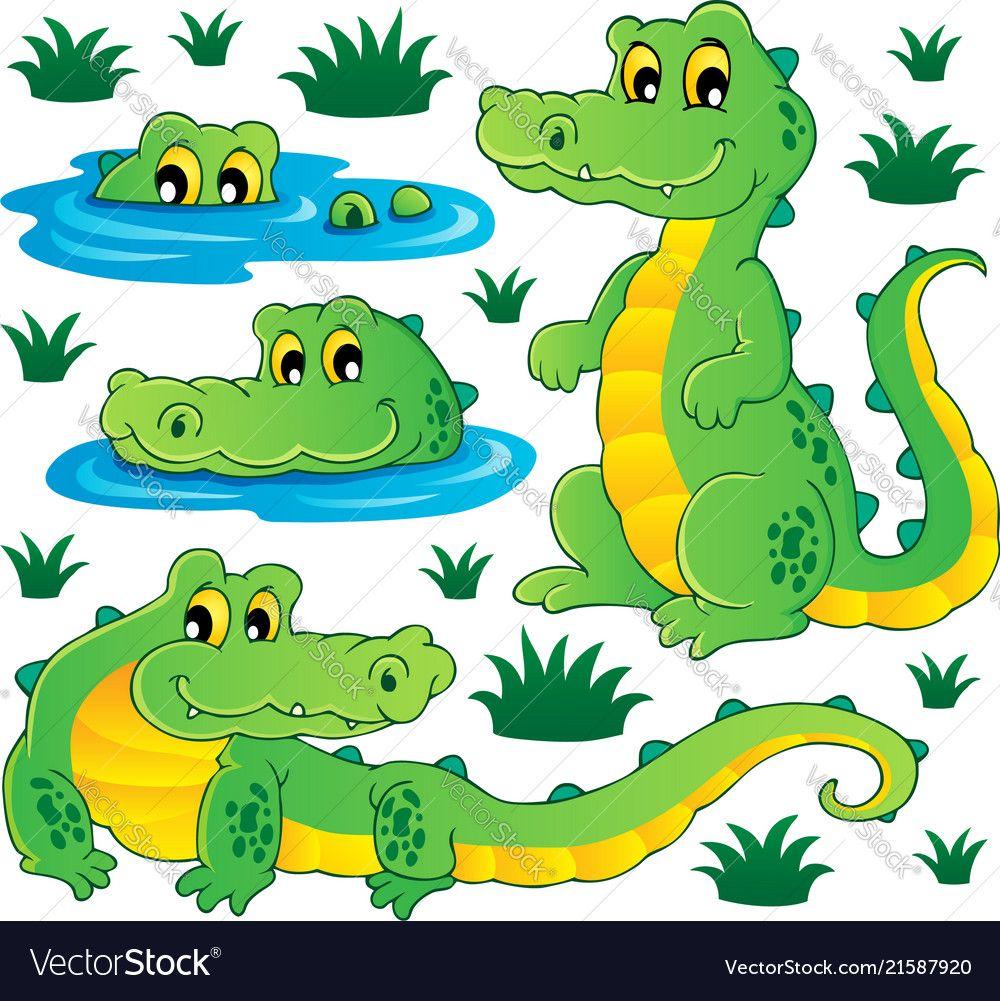 Image With Crocodile Theme 3 Vector Image On Vectorstock Crocodile Cartoon Crocodiles Turtle Coloring Pages