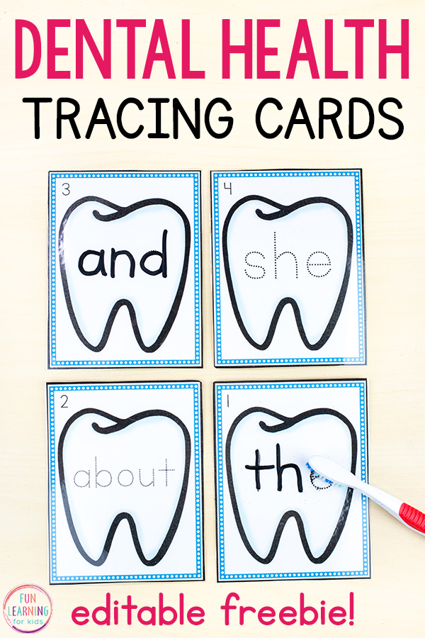 Dental Health Editable Tracing Cards