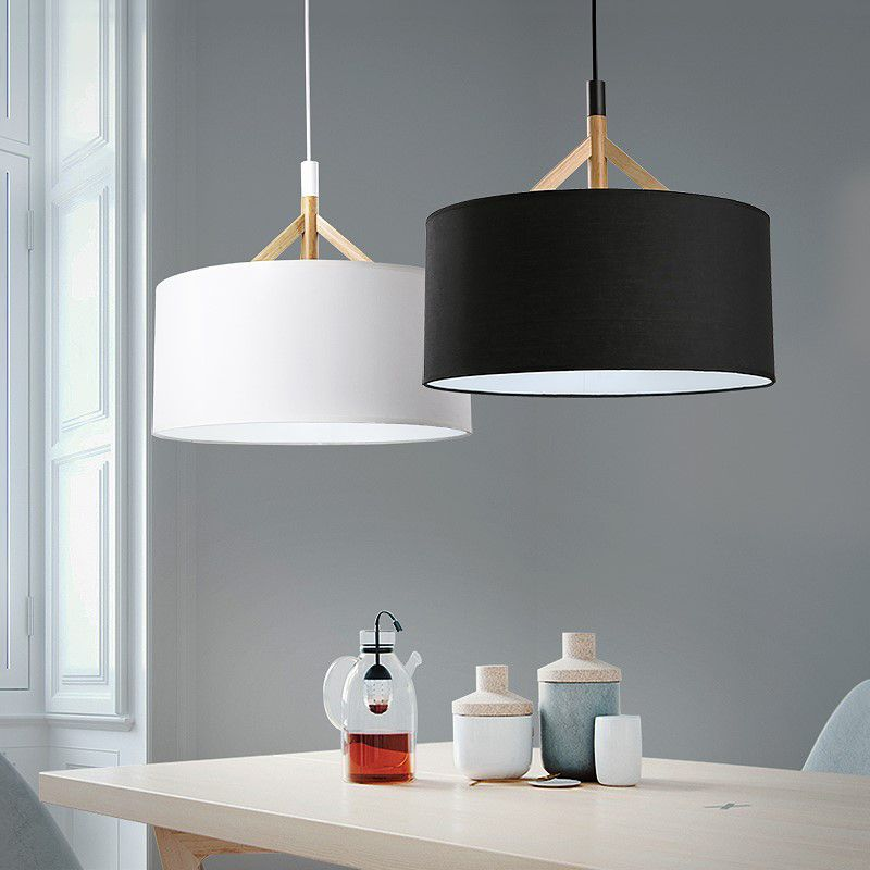 Modern D44cm Fabric Lampshade Pendant Lights Nordic Living Room Bedroom Ceiling Hanging L Ceiling Lamps Bedroom Hanging Ceiling Lamps Ceiling Lamps Living Room