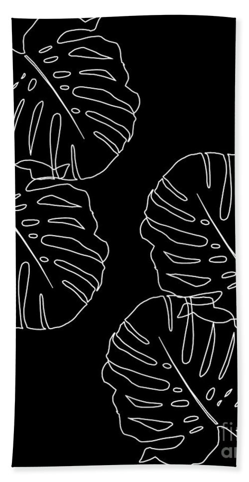 Monstera Leaves Finesse Line Art #3 #minimal #decor #art Beach Towel