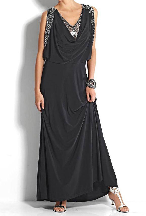 37ce8c88bc0 Robe Femme de Soiree Cocktail noir longue avec sequins marque Heine par  UnCadeauUnSourire.com