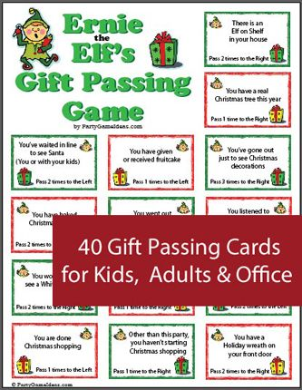 Ernie The Elf S Gift Passing Game Printable Holiday Game Gift Passing Game Christmas Gift Games Christmas Gift Exchange Games