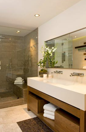 Modern Trough Sink Contemporary Bathroom Brown Design Modern Bathroom Design Modern Bathroom House Bathroom
