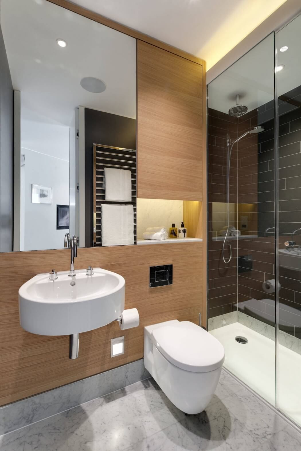 Wall Hung Sink And Toilet With Glass Shower Screen Keeps