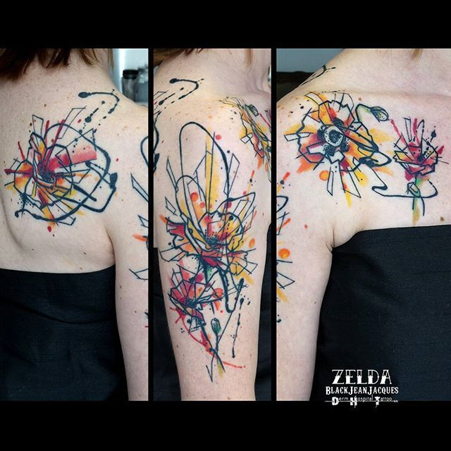 flowers graphic fleurs graphique dripping colourful tattoo poppy  coquelicot inkdrop zeldabjj zeldablackjeanjacques tatouage