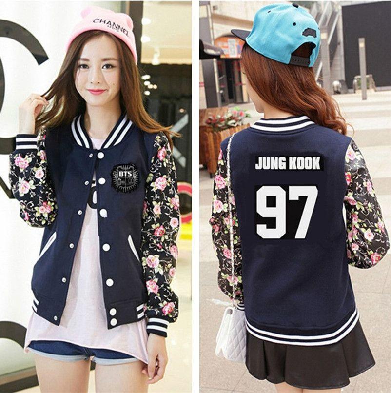 Kpop BTS 2017 NEW women long sleeve jacket Baseball Sweatshirts k - gebrauchte küchen nrw
