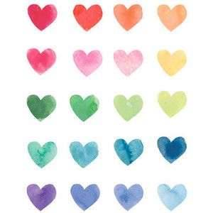 Watercolor Rainbow Hearts Art Print by Poppy Loves to Groove