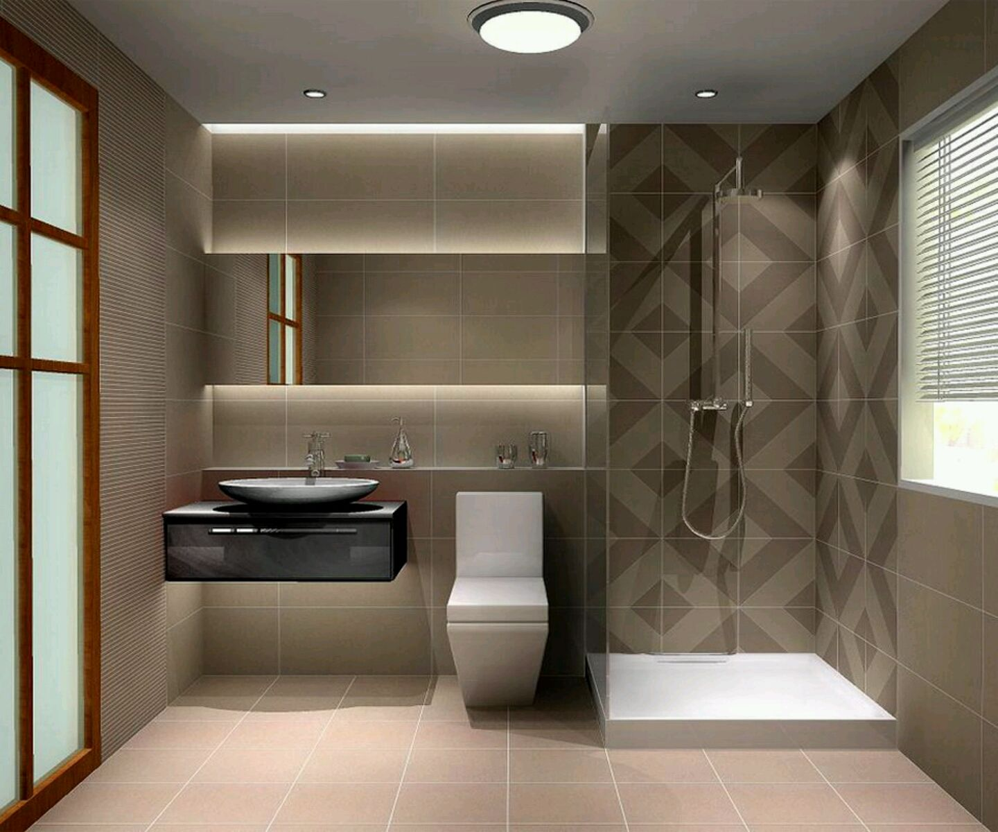 Cozy Bathroom Design With Soft Tone Featuring Shower Room With Decorative  Wall And Modern White Toilet In Line With Floating Black Bath Vanity  Granite Sink ...