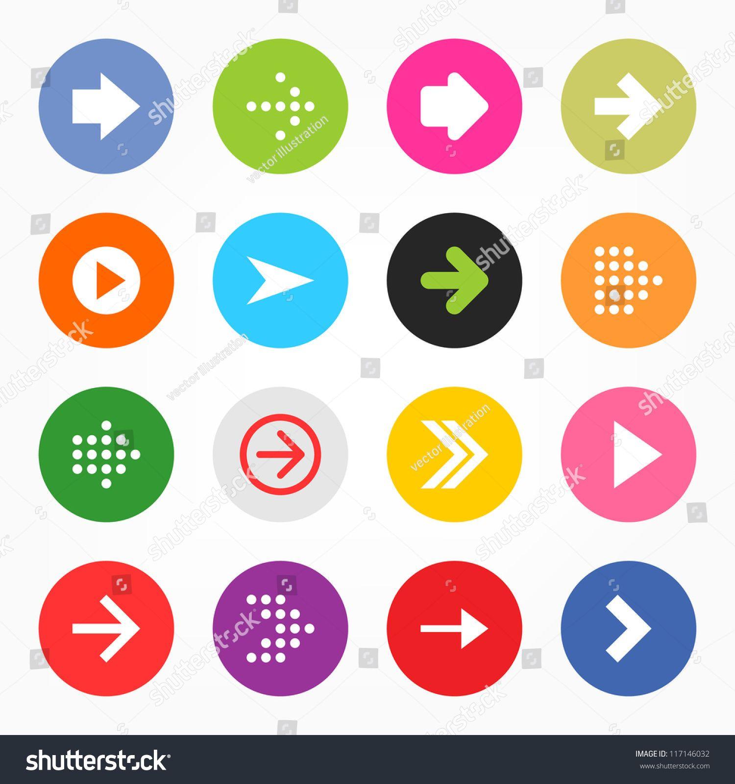 Arrow sign icon set. Simple circle shape button
