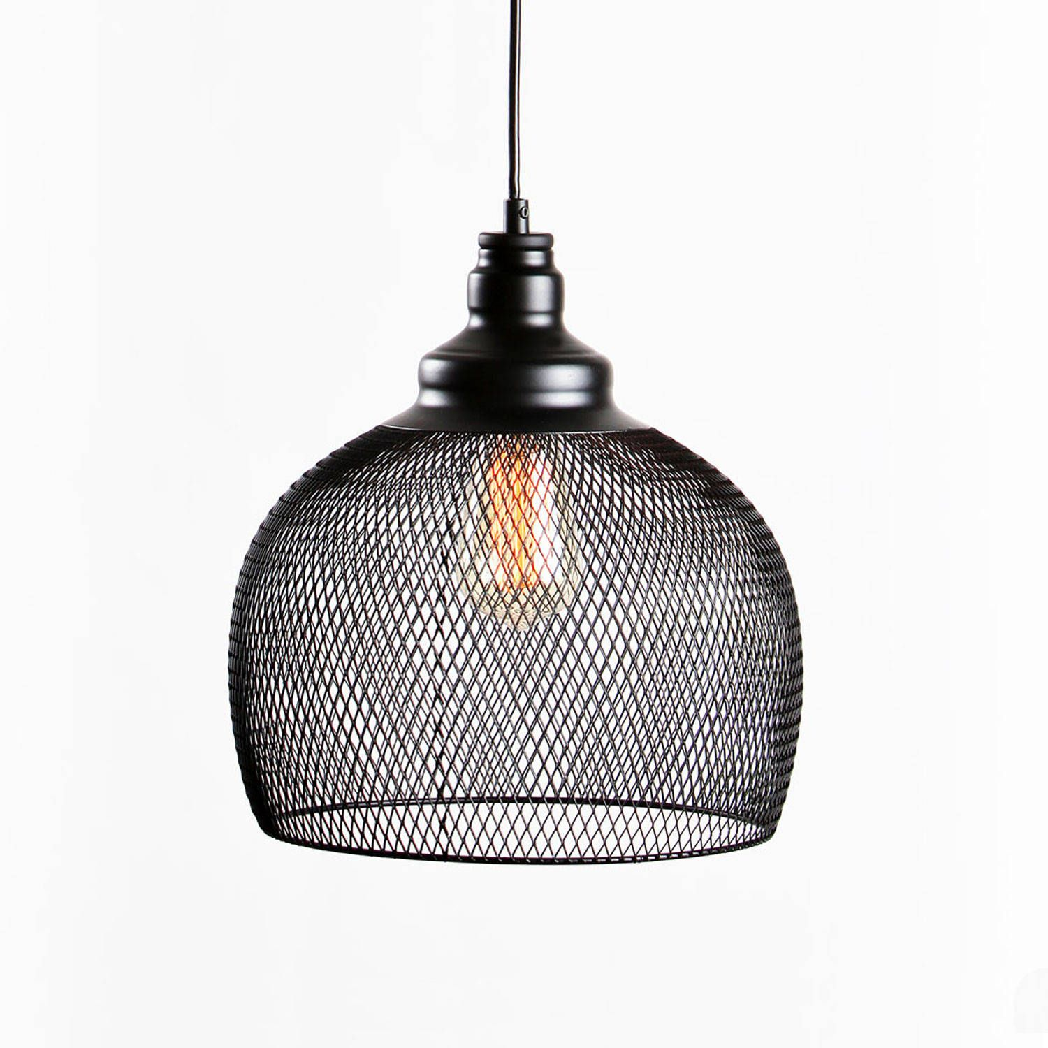 industrial look lighting. Black Iron Hanging Mesh Cage Pendant With Vintage Bulb Rustic, Industrial Look For Home Or Lighting :