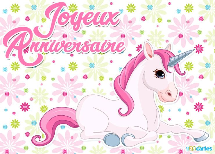 Carte Joyeux Anniversaire Licorne à Crinière Rose Sur Un