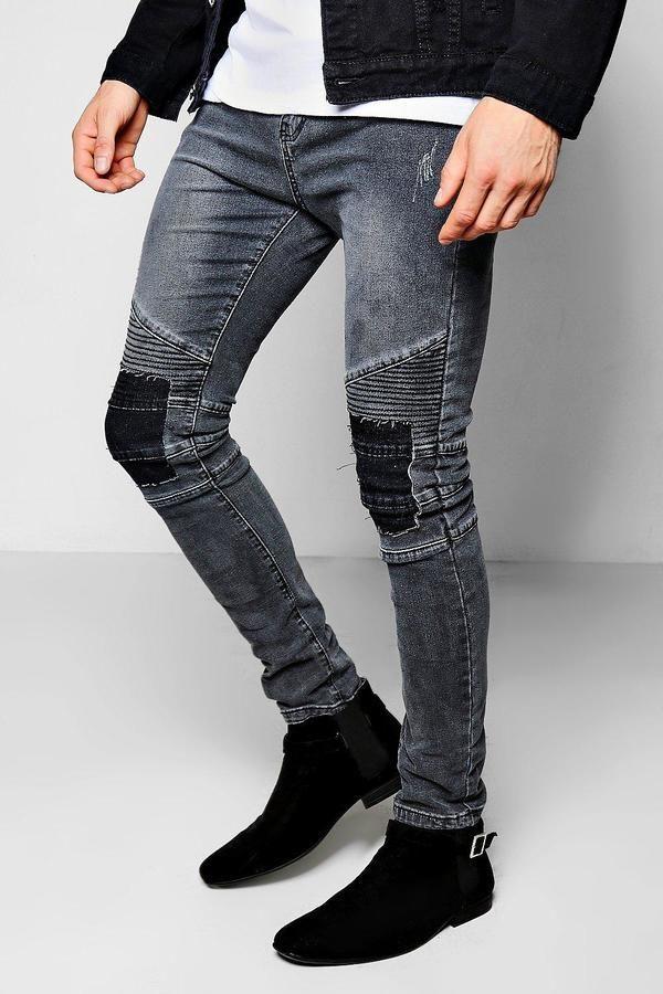 1b72528050948 Skinny Fit Charcoal Rip & Repair Biker Jeans in 2019 | Products ...