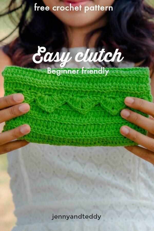 free crochet pattern easy clutch purse ribbed stitch beginner ...