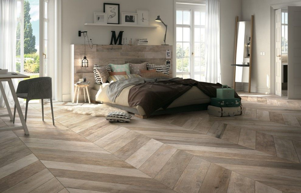 20 Bedrooms With Herringbone Pattern Designs Home Design Lover Bedroom Flooring Floor Tile Design Wood Look Tile