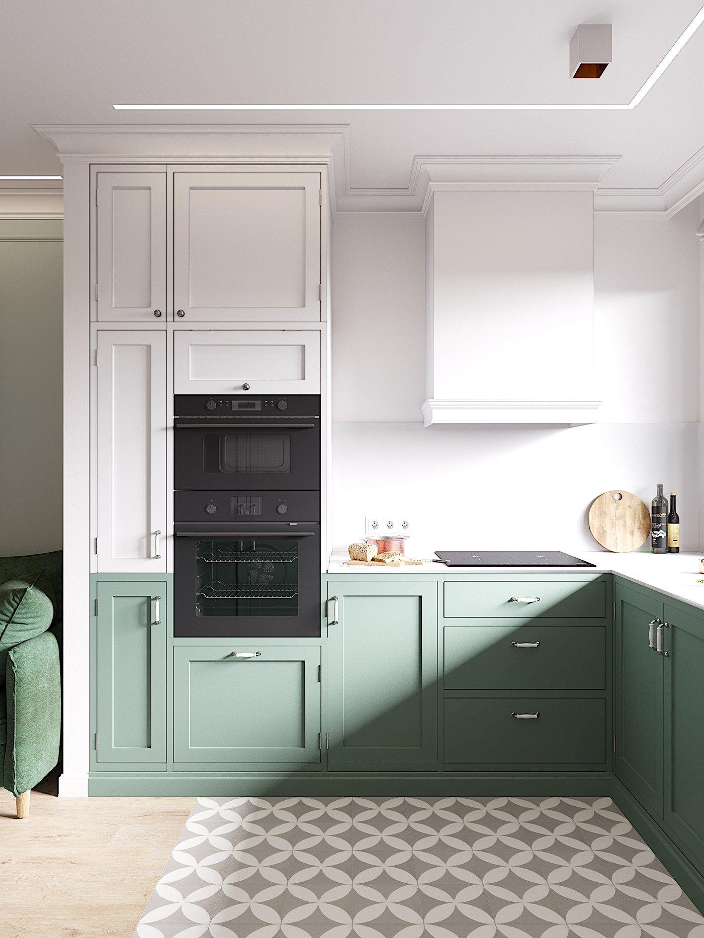Küche, klassich, moderner Twist, Bodenfliesen, Zementfliesen ...