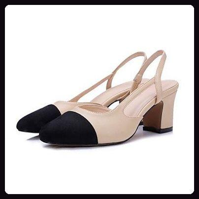 LvYuan-ggx Damen High Heels Pumps Leder Sommer Normal Pumps Blockabsatz Khaki 5 - 7 cm