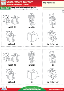 Worksheet Preposition Next To Kindergarten Worksheet santa where are you prepositions of place christmas worksheet from super simple learning