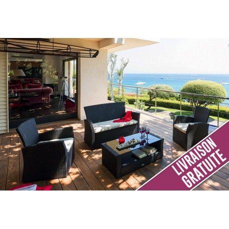 Salon Hespéride Bora Bora 4 places Réglisse   Terrasse et jardin ...