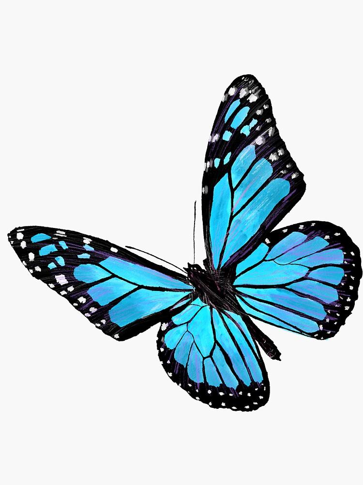 Blue Butterfly Discover Light Blue Butterfly Sticker By Vikikl Butterfly Art Drawing Butterfly Art Painting Butterfly Painting