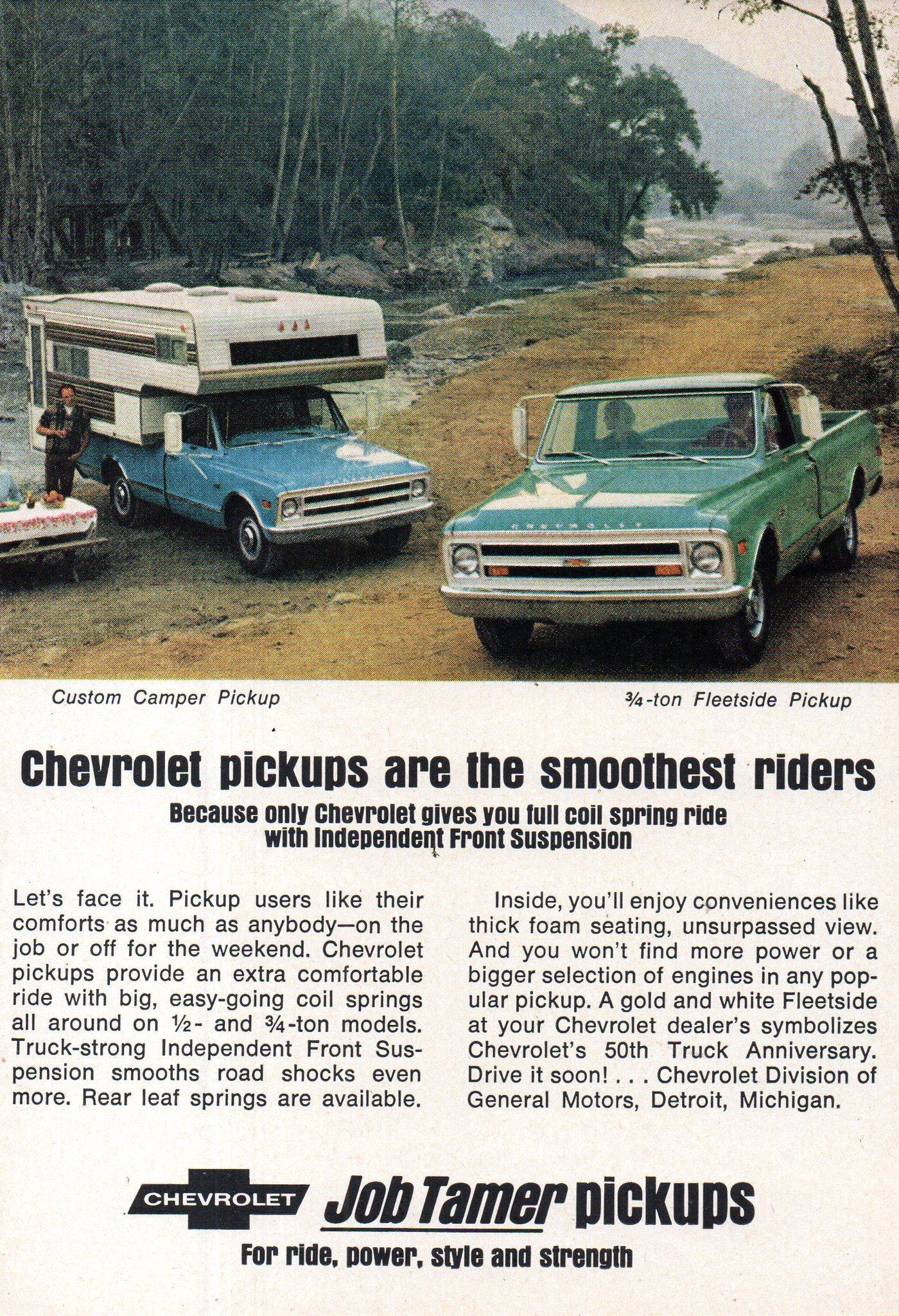1968 Chevrolet Custom Camper & Quarter Ton Fleetside Pickup USA Original Magazine Advertisement
