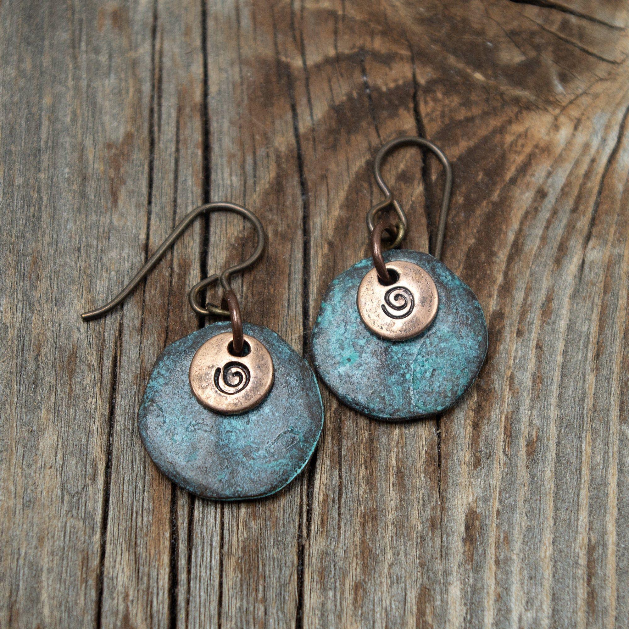 simple boho earrings antiqued copper teardrops Copper earrings with hypoallergenic niobium ear wires