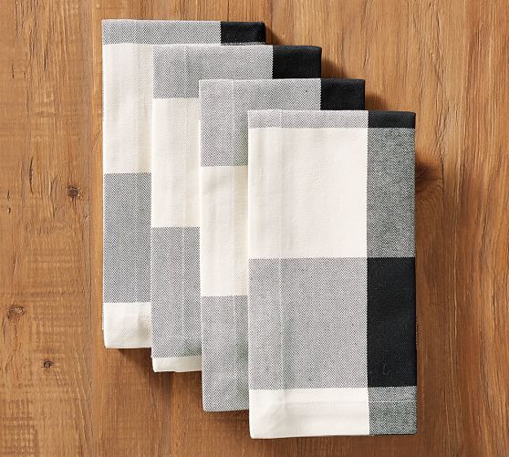 Buffalo Check Napkins Black White Pottery Barn Table