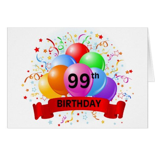 99th Birthday Banner Balloons Card