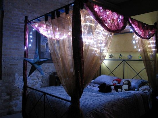 Cool Canopy Beds canopy bed decorated with tiny white leds, stars and fabric ~ cool