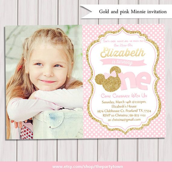Pink And Gold Minnie Mouse First Birthday Party Invitation Photo - First birthday invitations girl pink and gold